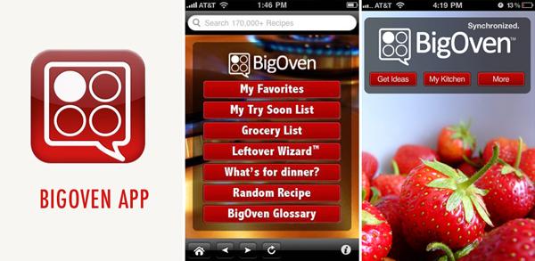 a menu for BigOven food program